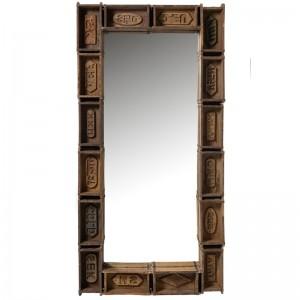 Miroir bacs rectangulaire bois recycle j-line - marron J-Line