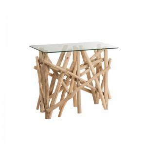 Console rectangulaire branches bois j-line - verre naturel J-Line