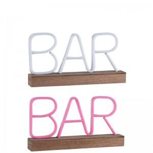 Lampe led neon sur pied bar plastique j-line - rose / blanc J-Line