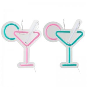 Lampe led neon cocktail plastique j-line - blanc / rose / vert J-Line