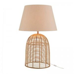 Pied de lampe + abat-jour barres bambou j-line - naturel large J-Line