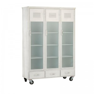 Armoire 3 portes / 3 tiroirs j-line - metal blanc J-Line