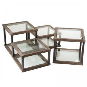 Set de 4 table de salon j-line - bois / verre marron J-Line