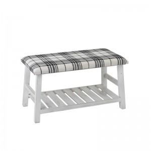 Banc bois / textile j-line - blanc / noir J-Line