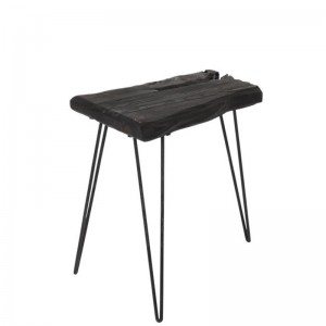 Table d'appoint irreguliere 3 pieds bois epicea j-line - noir J-Line